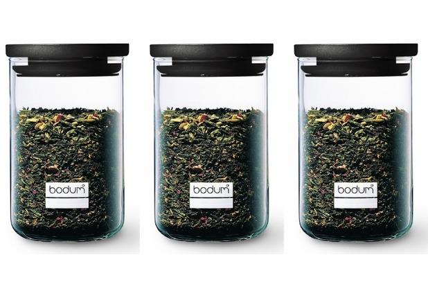 Bodum YOHKI SET 3 Stück Vorratsglas mit Kunststoffdeckel, 0.6 l schwarz