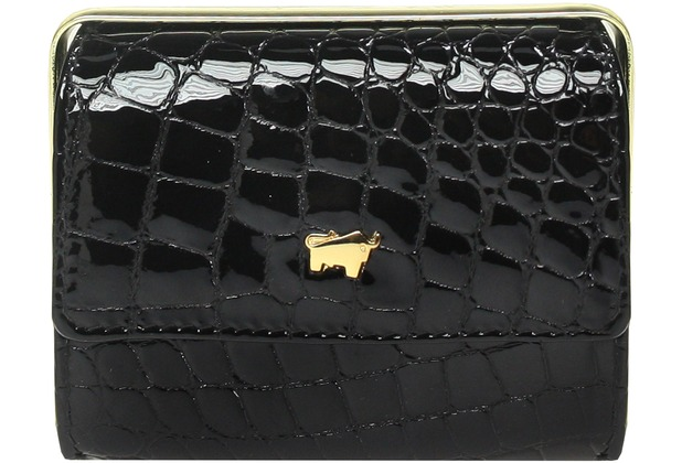 Braun Büffel Glanzkroko Bügelbörse Leder 10 cm schwarz