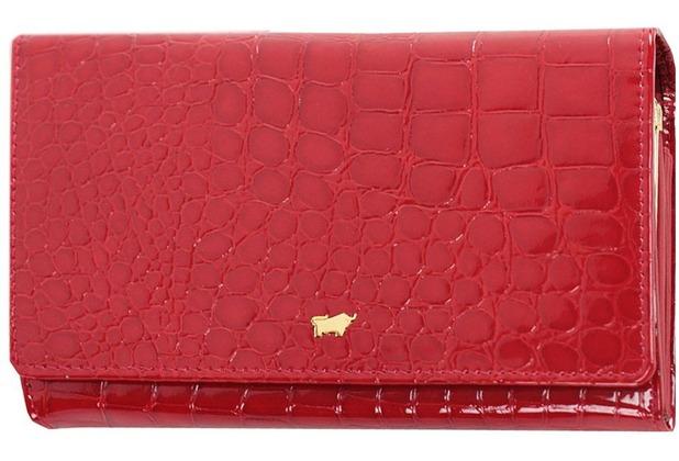 Braun Büffel Glanzkroko Bügelbörse Leder 17 cm rot