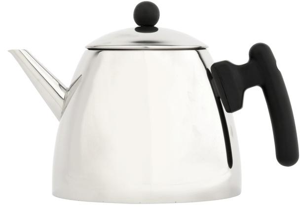 Bredemeijer doppelwandige Teekanne Duet® classic Edelstahl glänzend schwarze Beschläge 1,2 ltr.