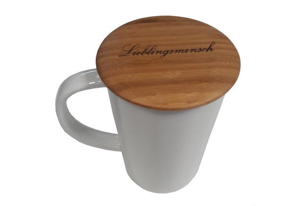 Bredemeijer Tee-Becher Bamboo 400ml Tasse mit Filter und Deckel MIT GRAVUR (z.B. Lieblingsmensch)