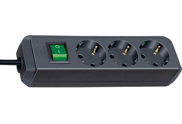 Brennenstuhl Eco-Line Steckdosenleiste 3-fach 3m schwarz