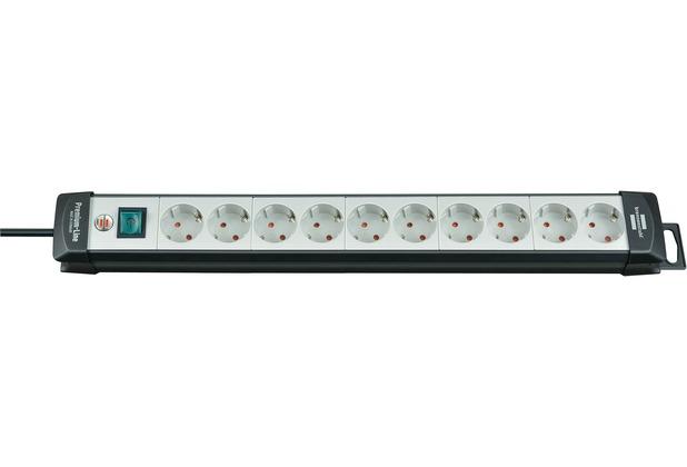Brennenstuhl Premium-Line 10fach, 3m H05VV-F3G1,5 mit Schalter, Schwarz-Lichtgrau