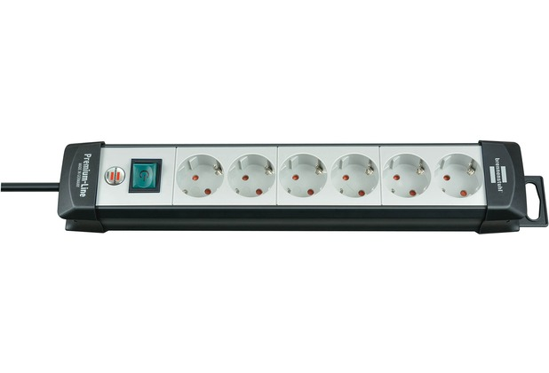 Brennenstuhl Premium-Line 6fach, 3m H05VV-F3G1,5 mit Schalter, Schwarz-Lichtgrau