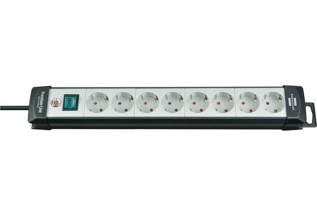 Brennenstuhl Premium-Line 8 fach, 3m H05VV-F3G1,5 mit Schalter, Schwarz-Lichtgrau