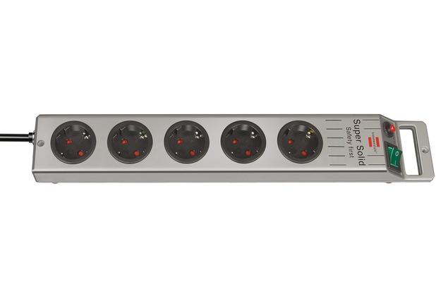 Brennenstuhl Super-Solid Line 5-fach 2,5 m H05VV-F 3G1,5, Silber