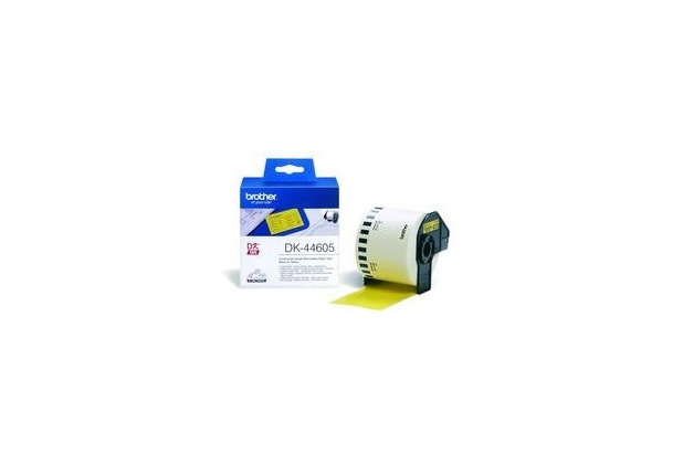 Brother DK-44605 Endlosetiketten (Papier, gelb, 62 mm, ablösbar)