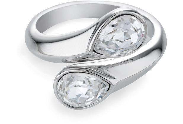 Buckley London Ring Messing rhodiniert Kristall weiß 22293 50 (15,9)