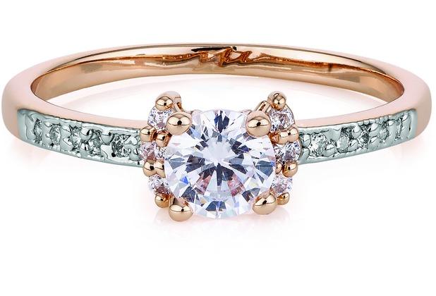 Buckley London Ring Messing rotvergoldet Kristalle  22283 50 (15,9)