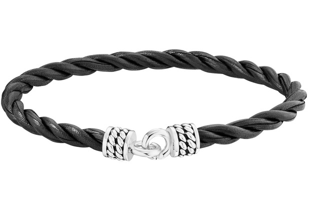 Cai Armband 925/- Sterling Silber rhodiniert Lederband 21cm weiß 21041