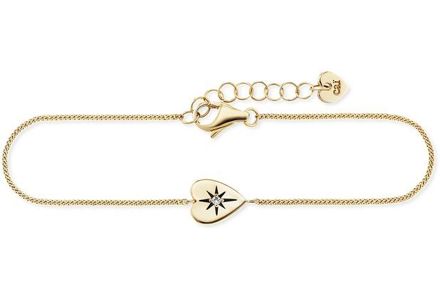 Cai Armband 925/- Sterling Silber vergoldet Zirkonia Herz gelb 21677