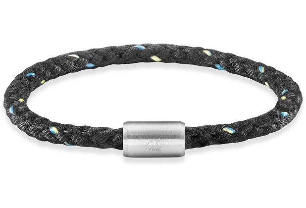 Cai Armband Edelstahl Textil schwarz 23cm  22063