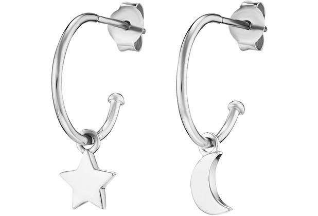 Cai Creolen 925/- Sterling Silber rhodiniert Stern Mond weiß 21325