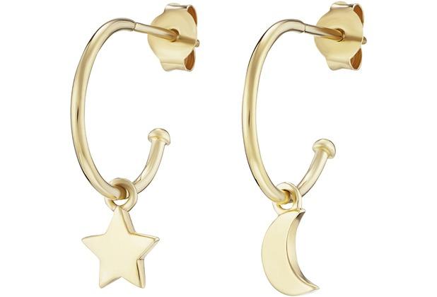 Cai Creolen 925/- Sterling Silber vergoldet Mond Stern gelb 21319