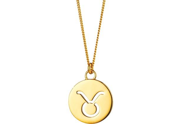 Cai Halskette Stier Sternzeichen 925/- Sterling Silber vergoldet gelb 20279