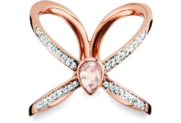 Cai Ring 925/- Silber rotvergoldet Rosenquartz Topas  20597 50 (15,9)
