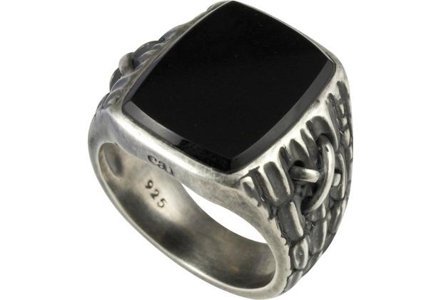 Cai Ring 925/- Sterling Silber matt oxidiert Onyx Silbergrau 21199 60 (19,1)