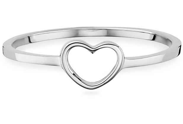 Cai Ring 925/- Sterling Silber rhodiniert Herz weiß 21761 50 (15,9)