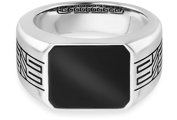 Cai Ring 925/- Sterling Silber rhodiniert oxidiert Onyx weiß 21259 58 (18,5)
