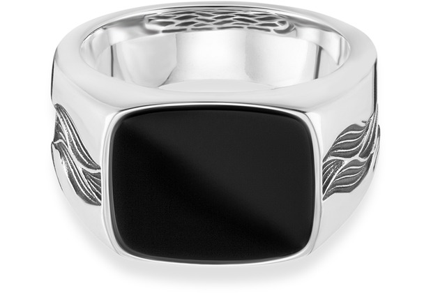 Cai Ring 925/- Sterling Silber rhodiniert oxidiert Onyx weiß 21267 58 (18,5)