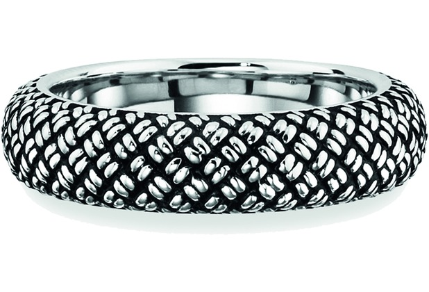 Cai Ring 925/- Sterling Silber rhodiniert Paracord weiß 21223 58 (18,5)