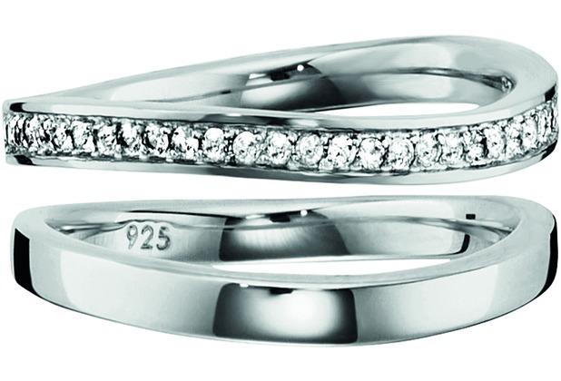 Cai Ring 925/- Sterling Silber rhodiniert Topas weiß 20599 50 (15,9)