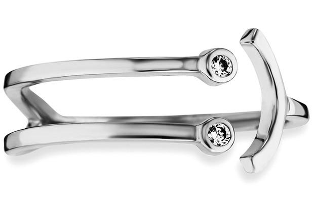 Cai Ring 925/- Sterling Silber rhodiniert Zirkonia Emoji weiß 21735 50 (15,9)