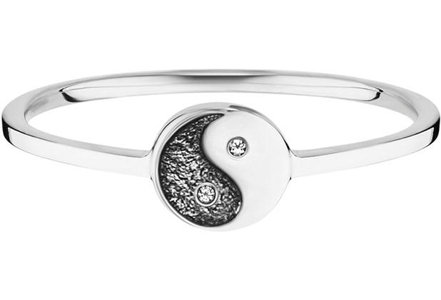 Cai Ring 925/- Sterling Silber rhodiniert Zirkonia Yin Yang weiß 21813 50 (15,9)