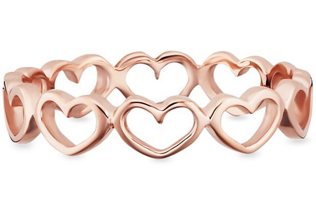 Cai Ring 925/- Sterling Silber rotvergoldet Herzen  21757 50 (15,9)
