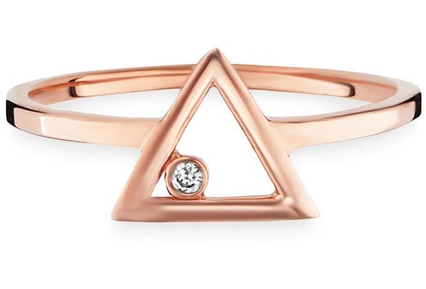 Cai Ring 925/- Sterling Silber rotvergoldet Zirkonia Dreieck  21723 50 (15,9)
