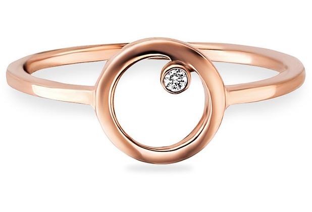Cai Ring 925/- Sterling Silber rotvergoldet Zirkonia Kreis  21717 50 (15,9)