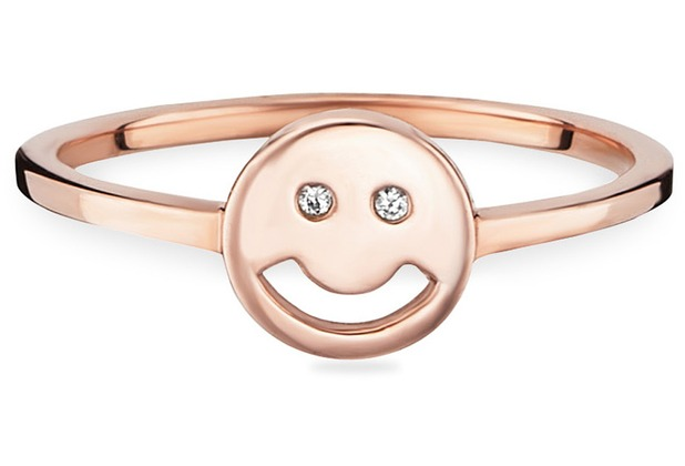 Cai Ring 925/- Sterling Silber rotvergoldet Zirkonia Smiley  21737 50 (15,9)