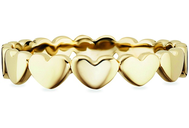 Cai Ring 925/- Sterling Silber vergoldet Herzen gelb 20665 50 (15,9)