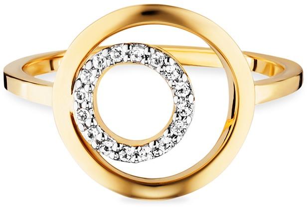 Cai Ring 925/- Sterling Silber vergoldet Topas gelb 21169 50 (15,9)