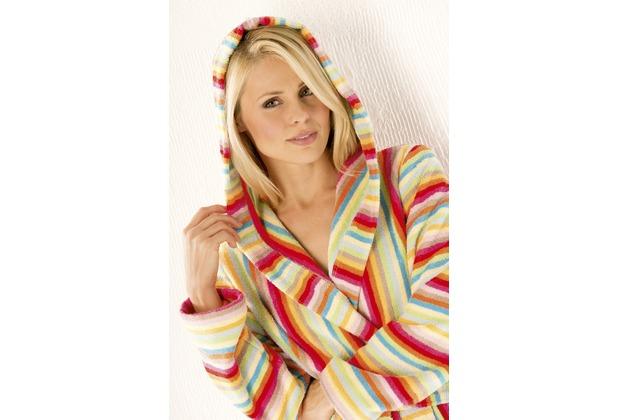 cawö Damen Bademantel Lifestyle mit Kapuze multicolor 36, Länge 125cm