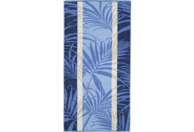 cawö Duschtuch blau 70 x 140 cm Pflanzenmuster