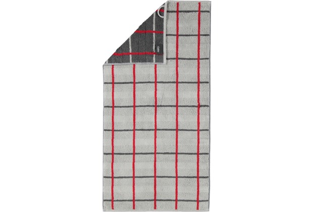 cawö Duschtuch platin 80 x 150 cm, rot/graues Netzmuster