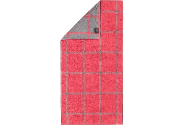cawö Duschtuch rot/grau 80 x 150 cm, Gittermuster