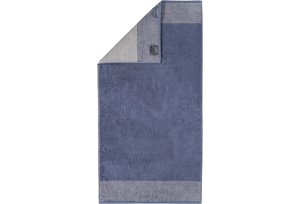 cawö Handtuch nachtblau 50 x 100 cm, Querstreifen am Saum
