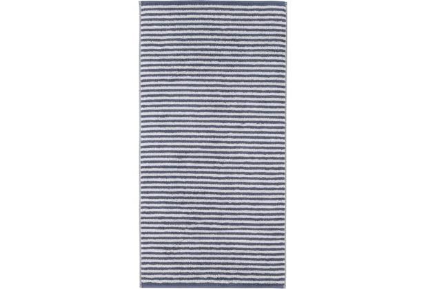 cawö Handtuch nachtblau 50 x 100 cm, Querstreifen