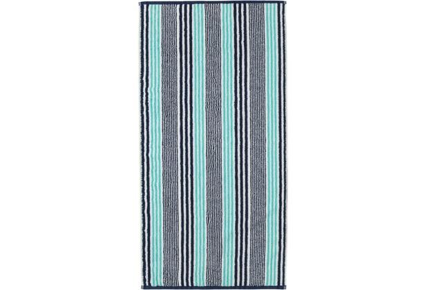cawö Handtuch türkis 50 x 100 cm, schwarze Streifen