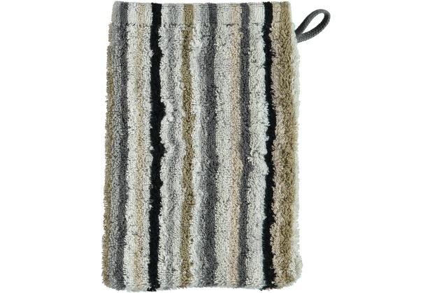 cawö Lifestyle Streifen Waschhandschuh kiesel 16x22 cm