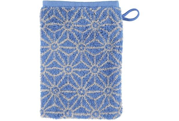 cawö Waschhandschuh blau 16 x 22 cm, Sonnenmuster