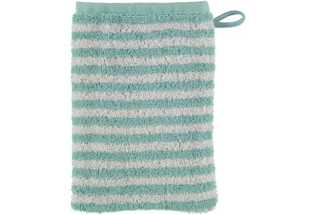 cawö Waschhandschuh seegrün 16 x 22 cm, Querstreifen