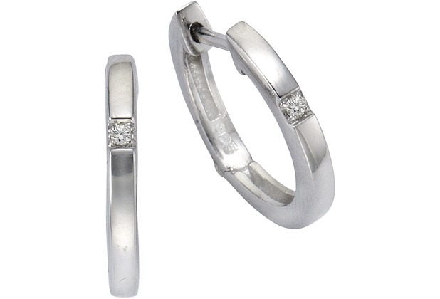 Celesta Diamonds Creolen 925/- Silber 2x Diamant weiß 1997