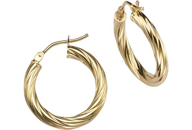 Celesta Gold Creolen 375/- Gelbgold stukturiert  14079