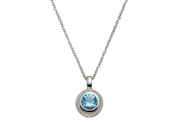 Celesta Silber Anhänger mit Kette 925/- Silber Zirkonia & sy. Blautopas weiß 14115