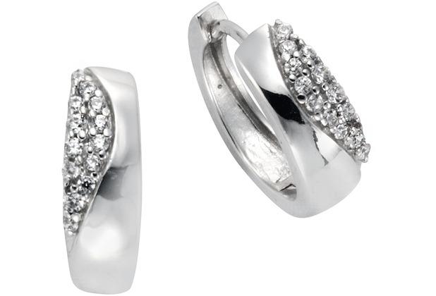 Celesta Silber Creolen 925/- Sterling Silber Zirkonia Silbergrau 14101