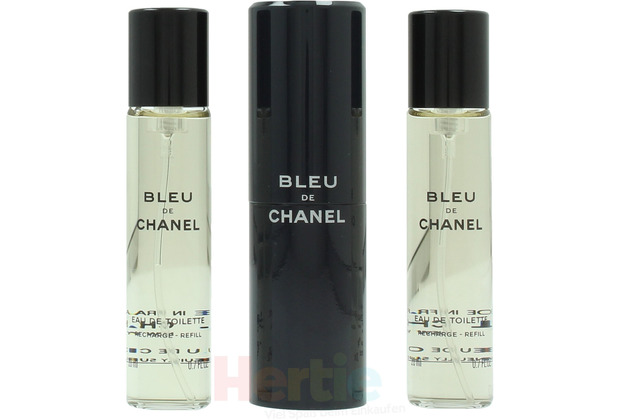 Chanel Bleu De Pour Homme Giftset 1x Edt Spray 20Ml + 2x Edt Spray Refill 20Ml - Travel Spray 60 ml