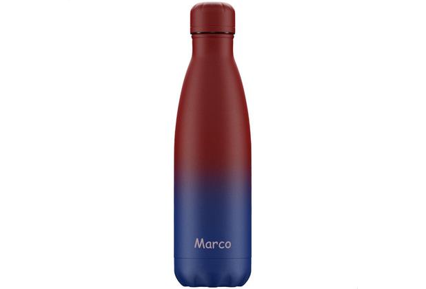 Chillys Isolierflasche Gradient Matte mit Farbverlauf rot-blau MIT GRAVUR (z.B. Namen) 500ml